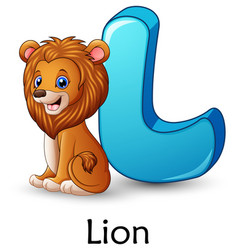 Letter l is for lion cartoon alphabet vector