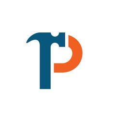 letter p hammer logo vector image