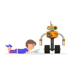 little boy lies and read beside robot vector image