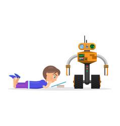 Little boy lies and read beside robot vector