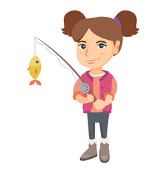 Little girl holding fishing rod with fish on hook vector