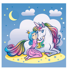 little princess girl and cute unicorn vector image