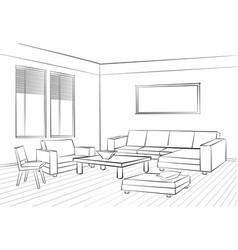 living room interior sketch furniture set sofa vector image