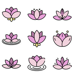 lotus icons flat vector image