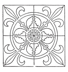 medieval square panel is decorated with a vector image