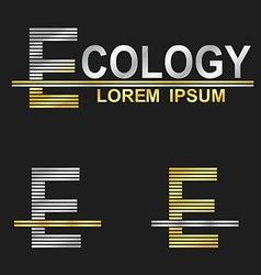 Metallic business font design - letter E vector