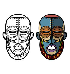 Mexican indian aztec masks coloring page vector