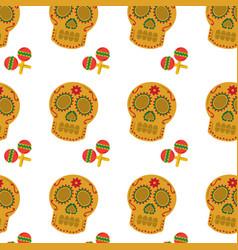mexican skull and maracas folk culture seamless vector image