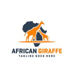 Modern african giraffe animal logo vector