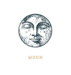 Moon hand drawn in engraving style sketch vector