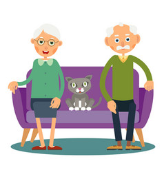 On the sofa sit elderly woman man and cat vector