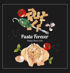 Pasta wreath design with hand fork fusilli vector