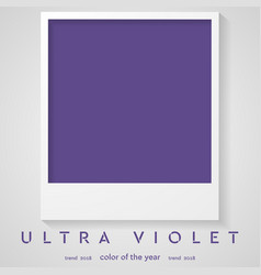 Photo frame with trend color ultra violet 2018 vector