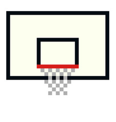 Pixel basketball basket hoop pixel art cartoon vector