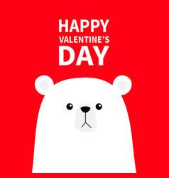 polar white bear cub face happy valentines day vector image