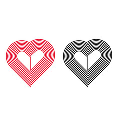 red and black heart vector image