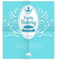 Retro card with bakery logo label vector image