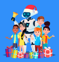 robot in santa claus hat and gifts with children vector image