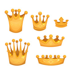 Royal golden crowns for kings or game ui vector