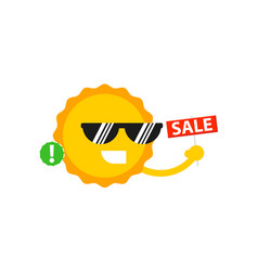 Sale sign with smiling sun icon vector