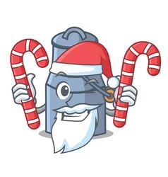 Santa with candy milk can mascot cartoon vector