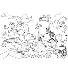 Savannah animal family with background in black vector