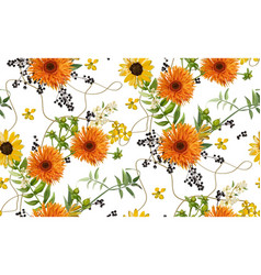 Seamless pattern bouquets of orange yellow vector