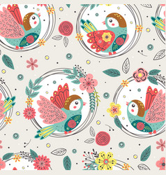 seamless pattern with birds in floral frames vector image