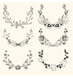 set floral hand drawn wreaths vector image
