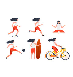 Set girls in different summer activities vector