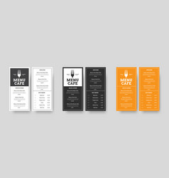 set menu format dl restaurants and cafes with vector image