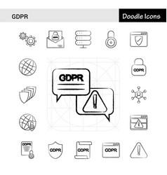 Set of 17 gdpr hand-drawn icon set vector