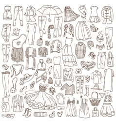 set of different women clothes and accessories vector image