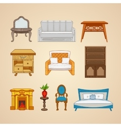 Set of ten furniture for home vector