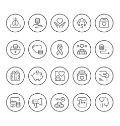 Set round line icons charity vector