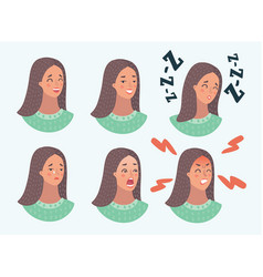 set woman s emotions facial expression girl vector image