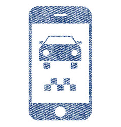 Smartphone taxi car fabric textured icon vector