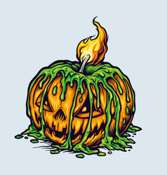 Spooky halloween scary pumpkins candle light vector