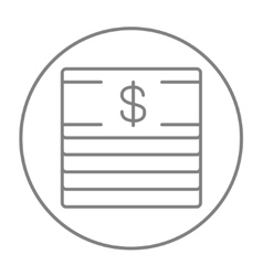 Stack of dollar bills line icon vector image vector image