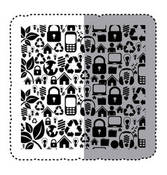 sticker silhouette pattern with storage tech vector image