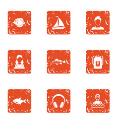 Stream icons set grunge style vector