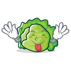 Tongue out lettuce character mascot style vector