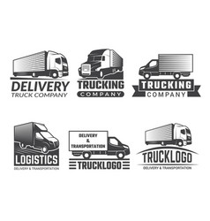 transportation logo silhouette of truck various vector image