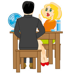 two persons at the table vector image