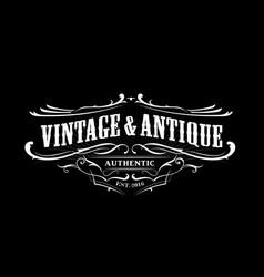 Vintage badge border western antique frame label vector