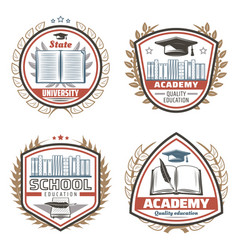 Vintage colored education emblems set vector