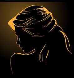 Woman face silhouette in backlight low key vector