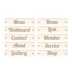 Wood board menu bar vector