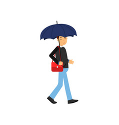 young man walking with blue umbrella vector image