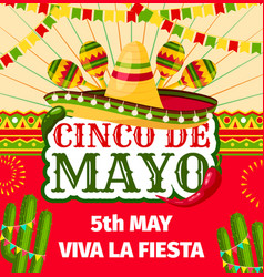 cinco de mayo mexican fiesta invitation vector image